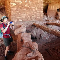 Interior Secretary Sally Jewell, visits a room near the Moon House, an ancient cliff dwelling in McLloyd Canyon near Blanding in southern Utah on Friday, July 15, 2016.