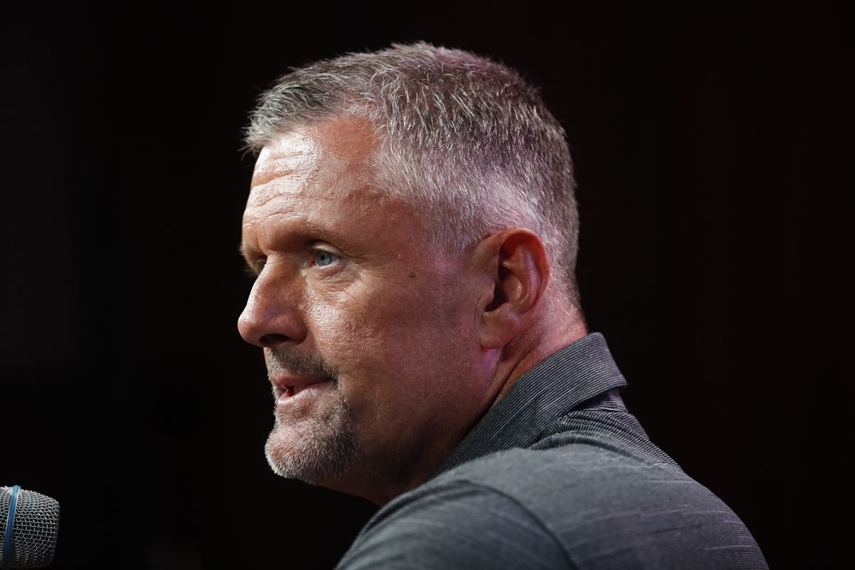 Utah head coach Kyle Whittingham speaks at the Pac-12 Conference NCAA college football Media Day in Los Angeles, Wednesday, July 25, 2018. (AP Photo/Jae C. Hong)