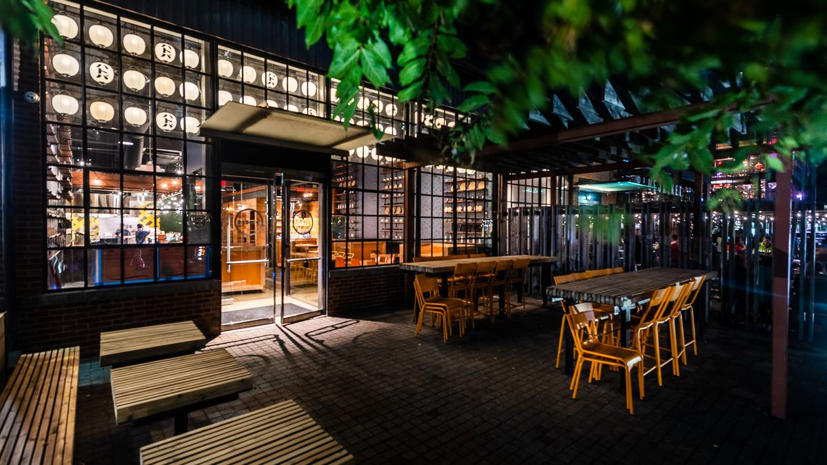 The front patio outside of Hatoba