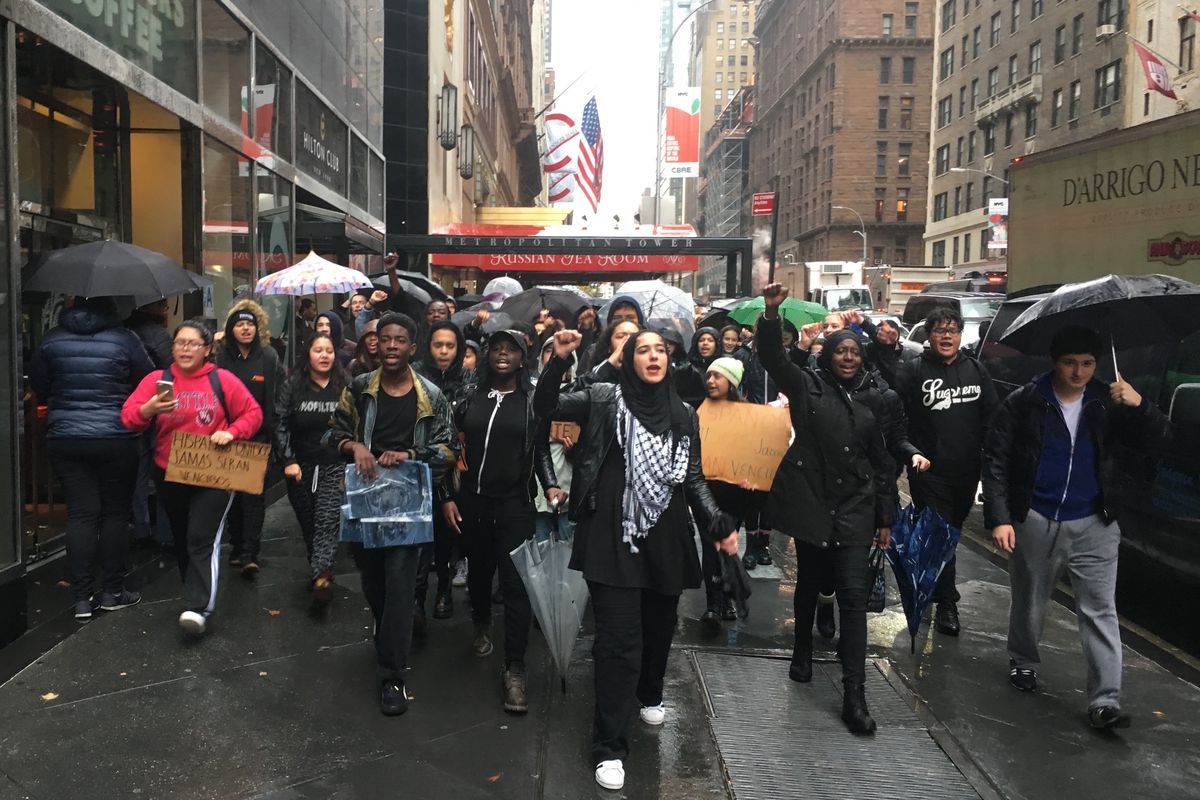 New York City students walk out of class and march to Trump Tower to protest the results of the presidential election.