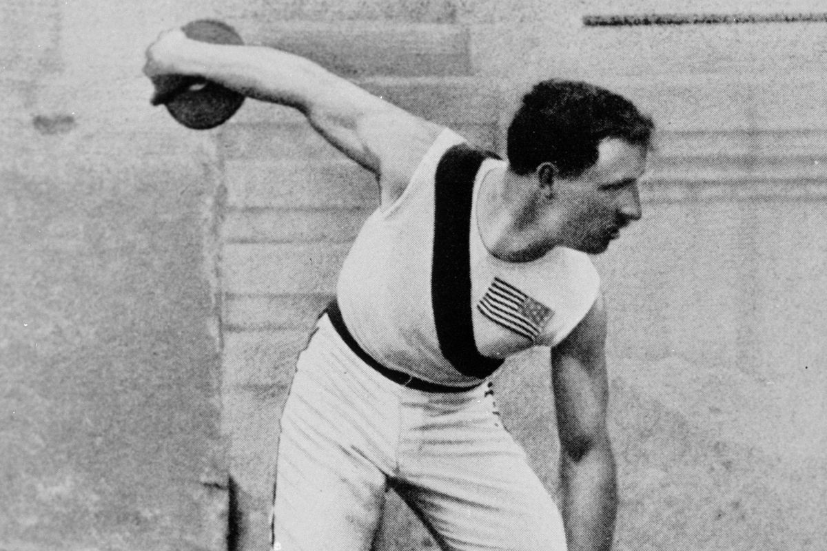 Robert Garrett (USA) wins the gold in the discus at the 1896 Athens Olympics.