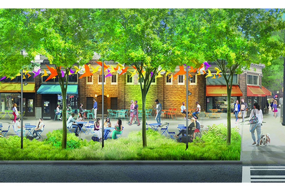 A rendering shows a retail strip activated with wide sidewalks and tree coverage.