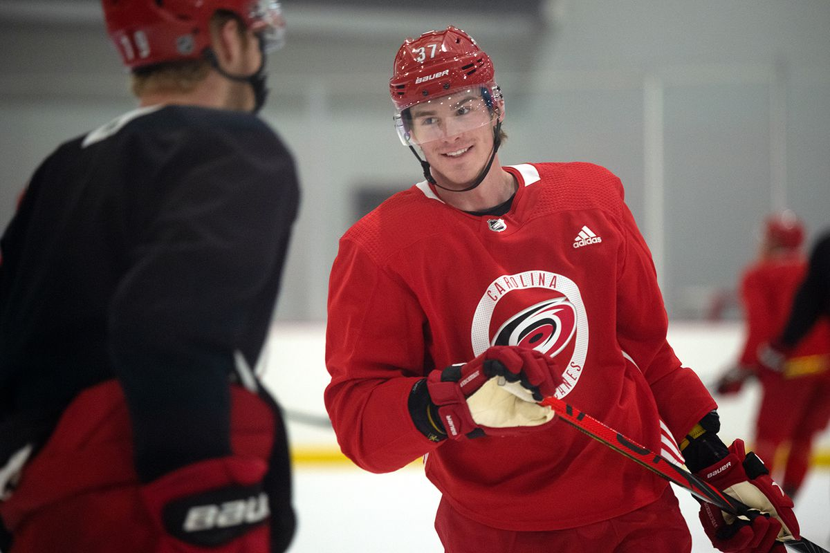 Andrei Svechnikov participates in the warm-up skate before drills, Jan. 7, 2021 at Wake Competition Center.