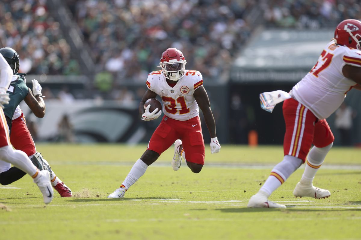 Kansas City Chiefs Darrel Williams (31) in action, rushing vs Philadelphia Eagles at Lincoln Financial Field. Philadelphia, PA 10/3/2021 CREDIT: Simon Bruty (Photo by Simon Bruty/Sports Illustrated via Getty Images)