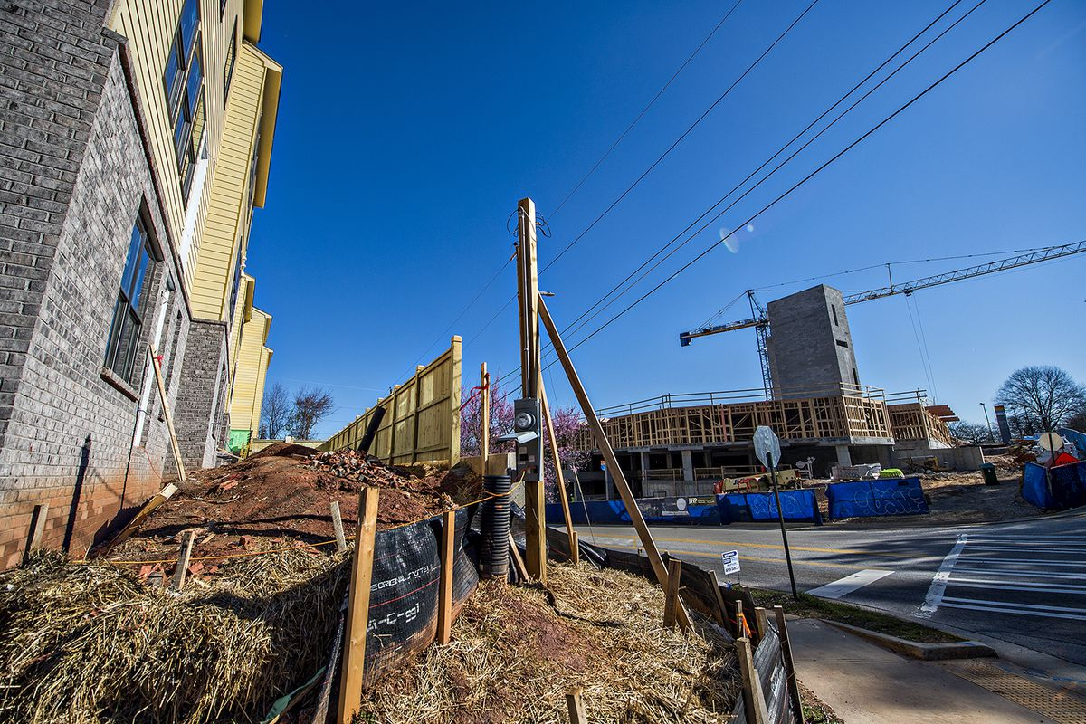 In this photo, two new developments face each alongside MARTA tracks in Edgewood.