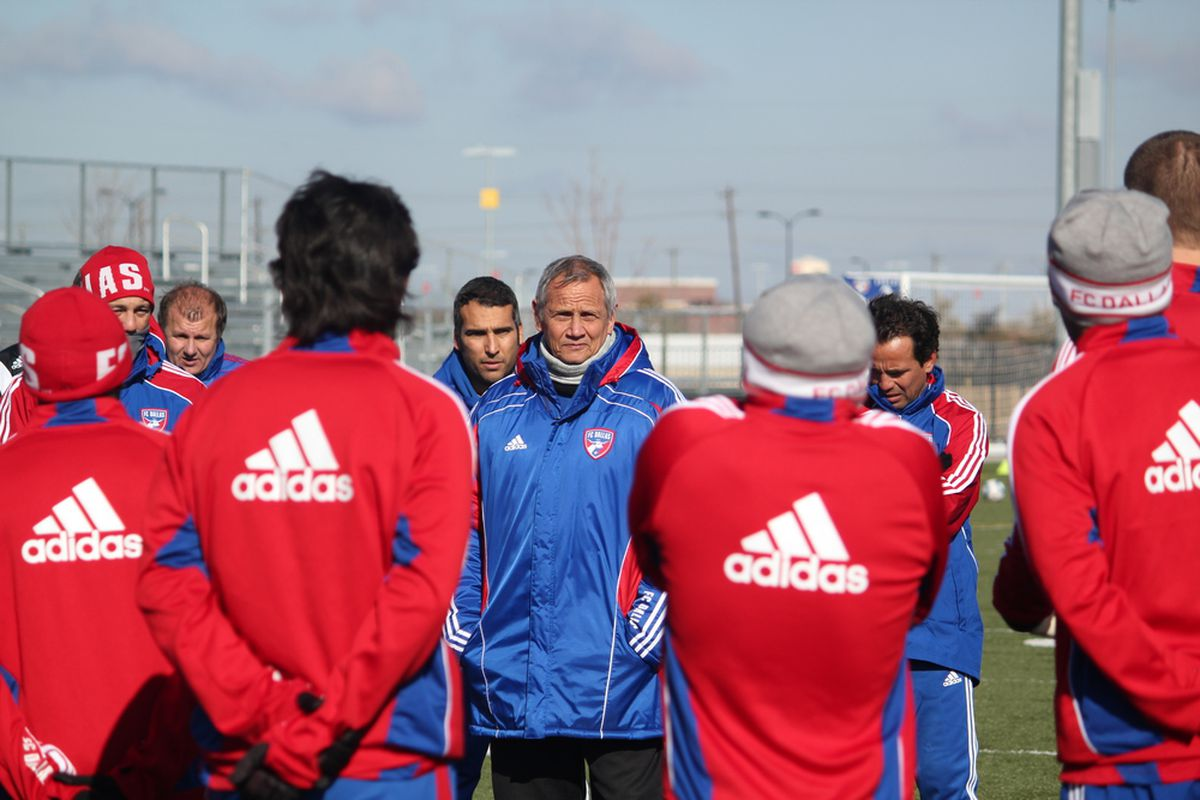 FC Dallas manager Schellas Hyndman and the club return to practice this week after losing to the Houston Dynamo 4-0 in a preseason friendly over the weekend. (Photo via FC Dallas)