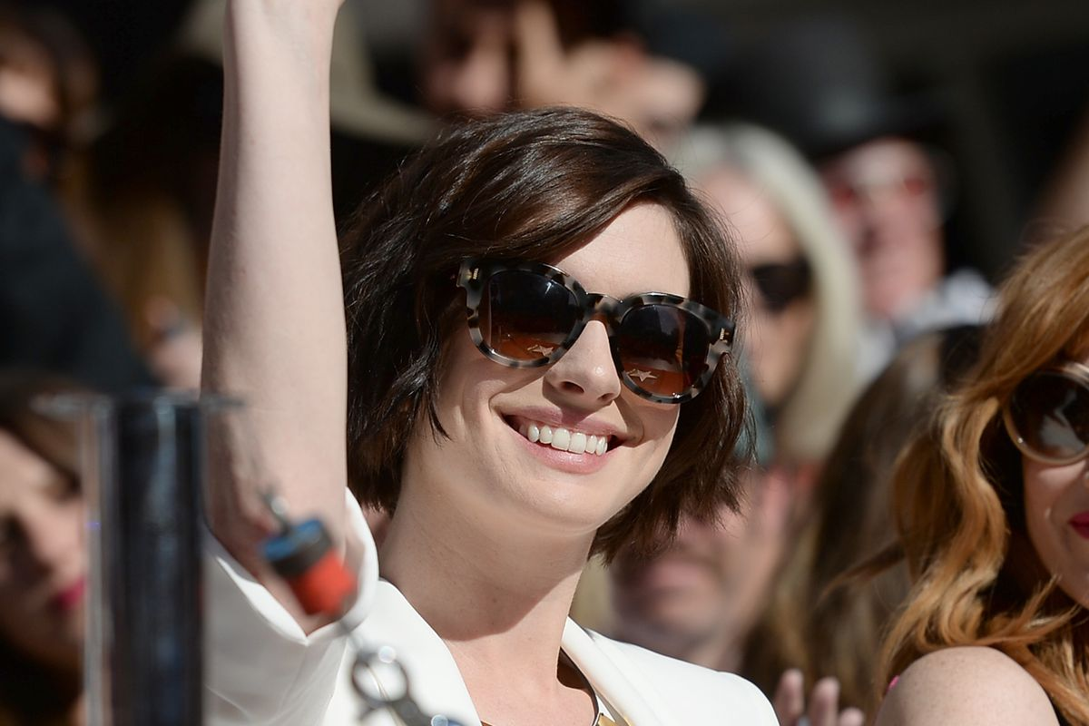 HOLLYWOOD, CA - NOVEMBER 17:  Actress Anne Hathaway attends The Hollywood Walk Of Fame ceremony for Matthew McConaughey on November 17, 2014 in Hollywood, California.  (Photo by Jason Merritt/Getty Images)
