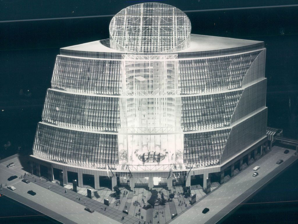 A model of the proposed State of Illinois Center, unveiled in 1980 by Gov. Thompson.Thompson then called it the first office building of the year 2000. File Photo.