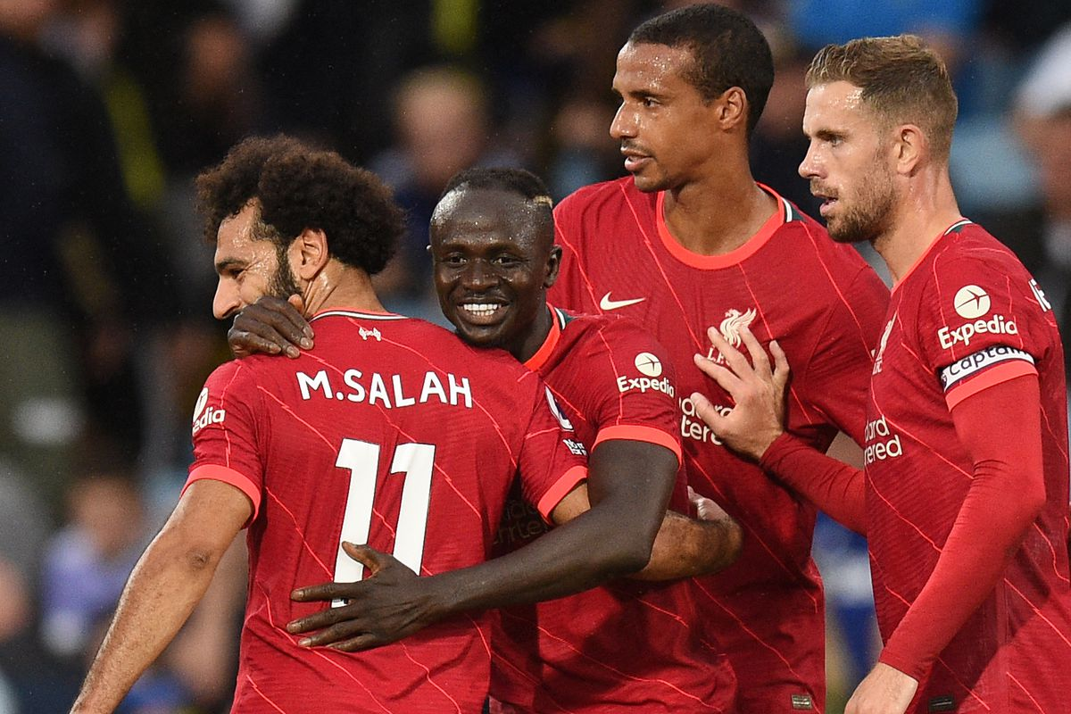 Sadio Mane celebrates scoring a goal with Mohamed Salah - Liverpool - Premier League