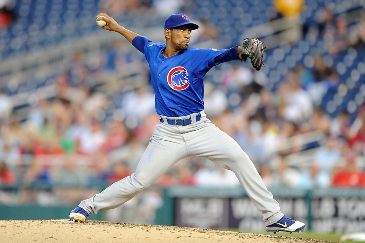 WASHINGTON, DC - JULY 05:  Ramon Ortiz #35 of the Chicago Cubs pitches against the Washington Nationals at Nationals Park on July 5, 2011 in Washington, DC.  (Photo by Greg Fiume/Getty Images)