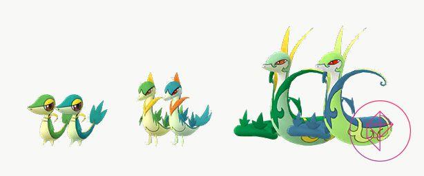 Snivy brillante y normal y sus desarrollos.  Shiny Snivy y sus desarrollos son tonos de verde ligeramente más azules.  Shiny Serperior tiene colores más parecidos al neón y Shiny Servine tiene colores naranjas más profundos en lugar de oro.