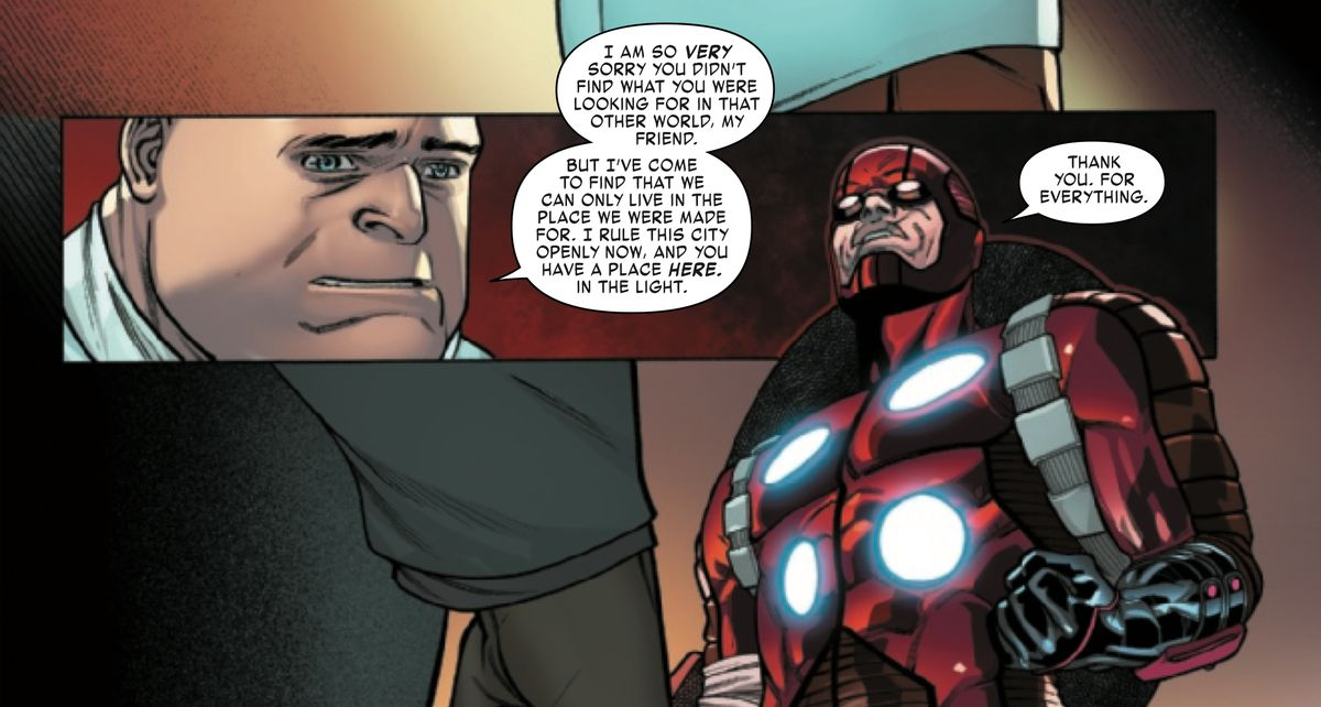 Wilson Fisk and the Miles Morales of Earth-616 discuss his return to main Marvel continuity, in Miles Morales: Spider-Man #10, Marvel Comics (2019).