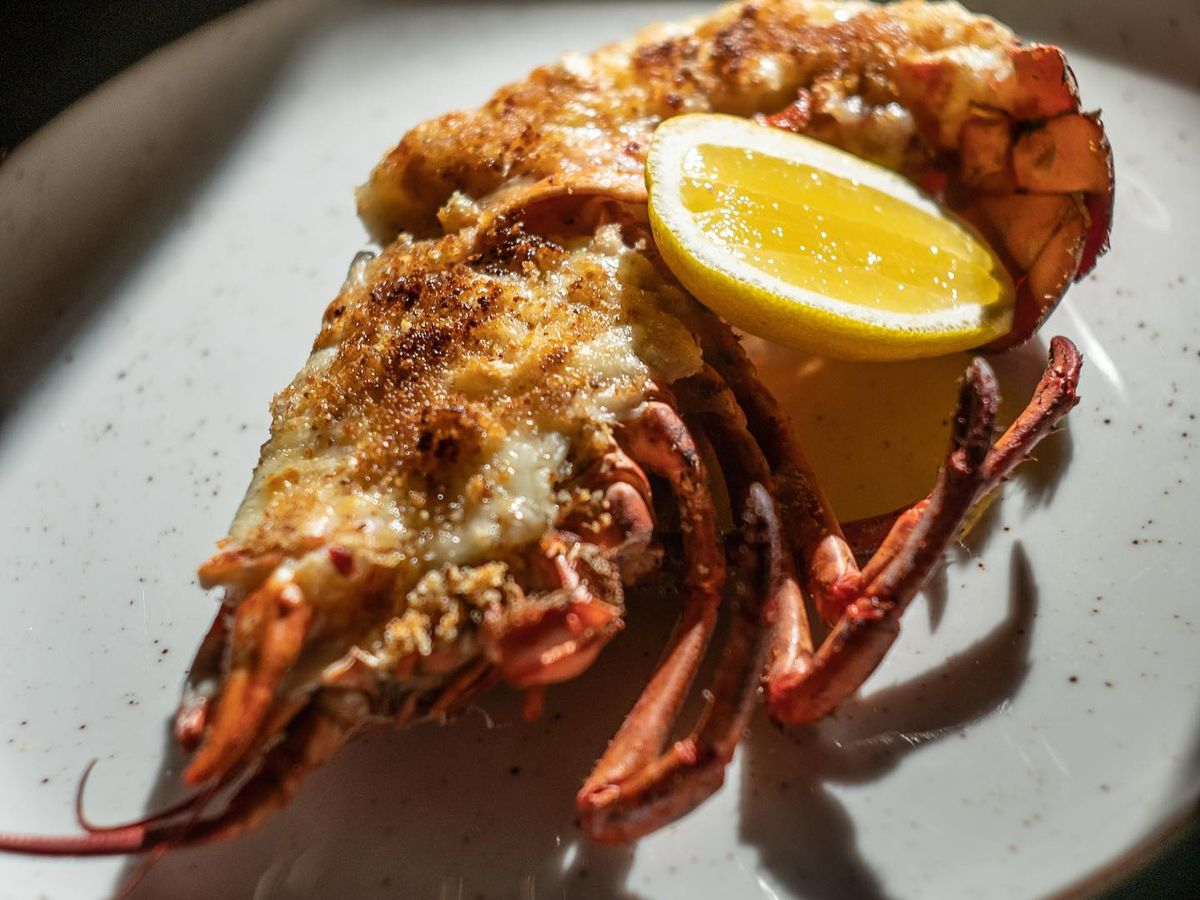 lobster with breadcrumbs and lemon