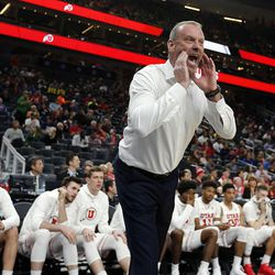 Utah Utes head coach Larry Krystkowiak yells to his team near the end of the game against the Oregon Ducks during the Pac-12 basketball tournament in Las Vegas on Thursday, March 8, 2018.