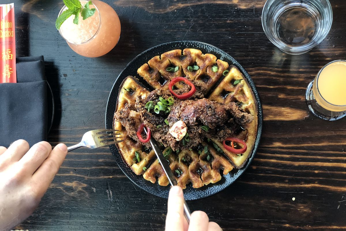 Chicken and waffles, Fat Baby brunch
