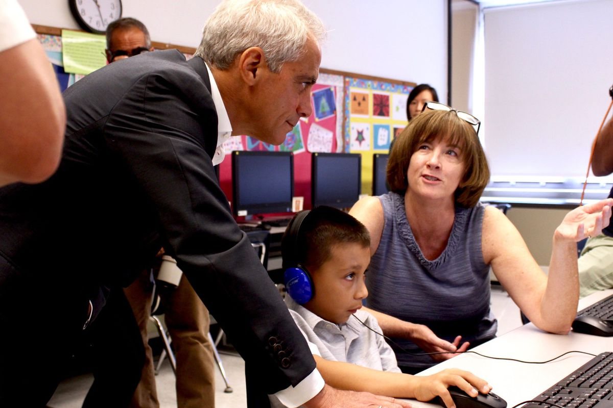 Rahm Emanuel at Cardenas Elementary School in Little Village, moments before he announced this year's $1 billion capital plan.