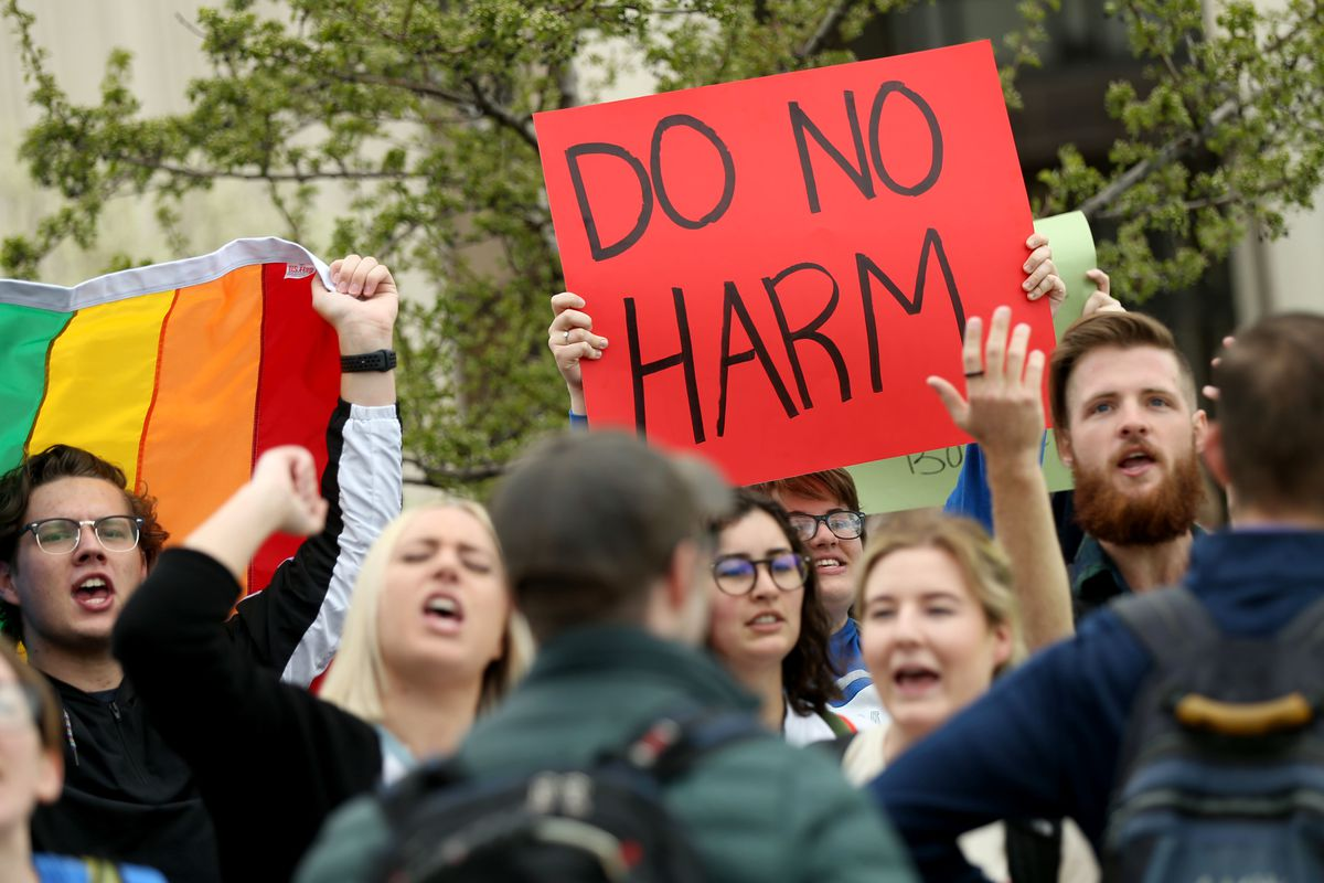 BYU students call for reform of the university's honor code and how it is enforced during a demonstration on the Provo campus on Friday, April 12, 2019.