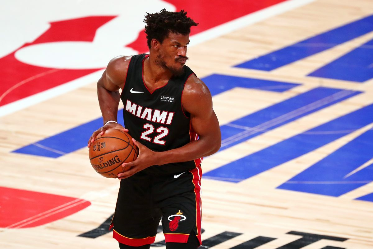 Miami Heat forward Jimmy Butler holds the ball during the third quarter in game six of the 2020 NBA Finals against the Los Angeles Lakers at AdventHealth Arena.