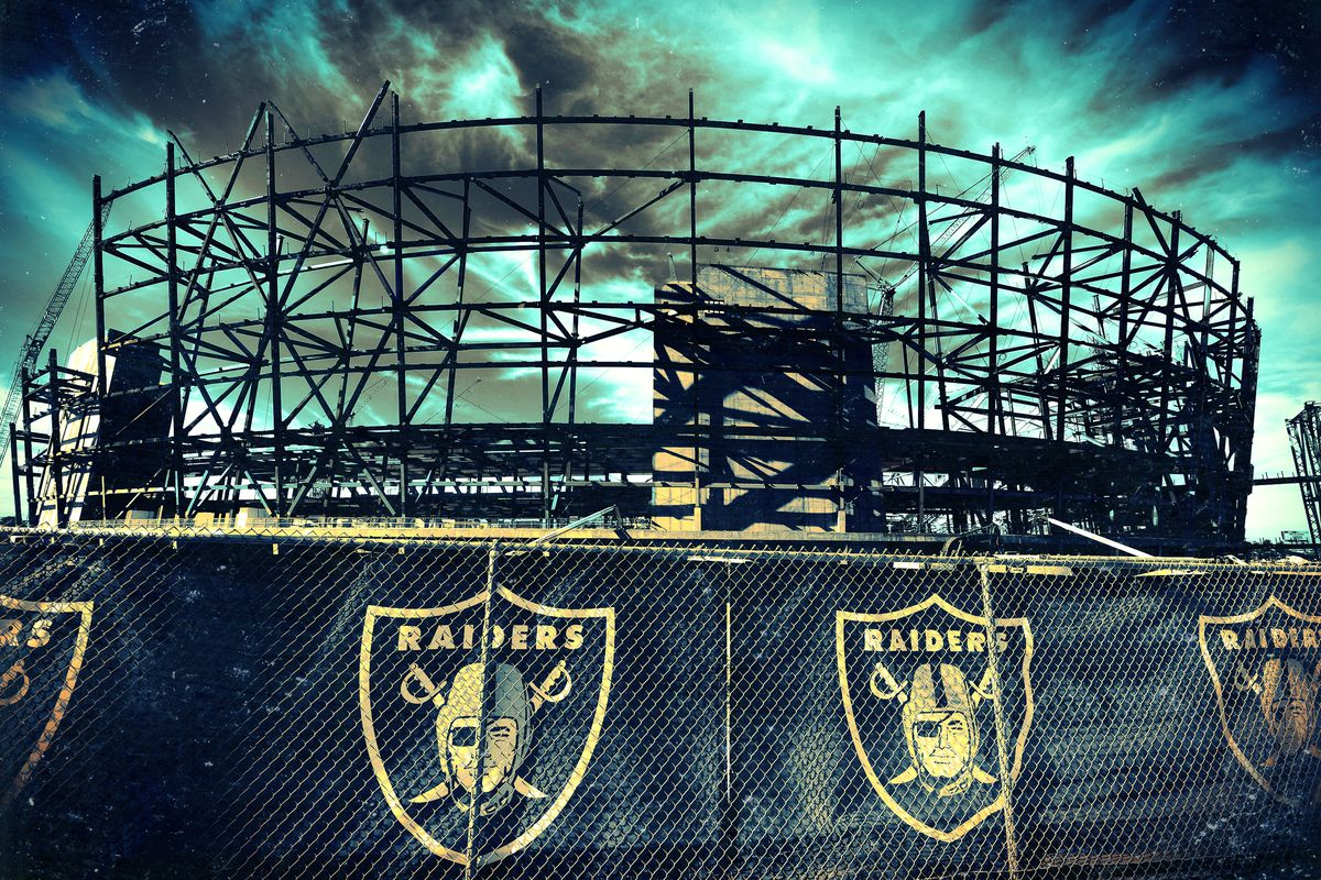 Photo illustration of dark storm clouds over the Raiders' Oakland Coliseum