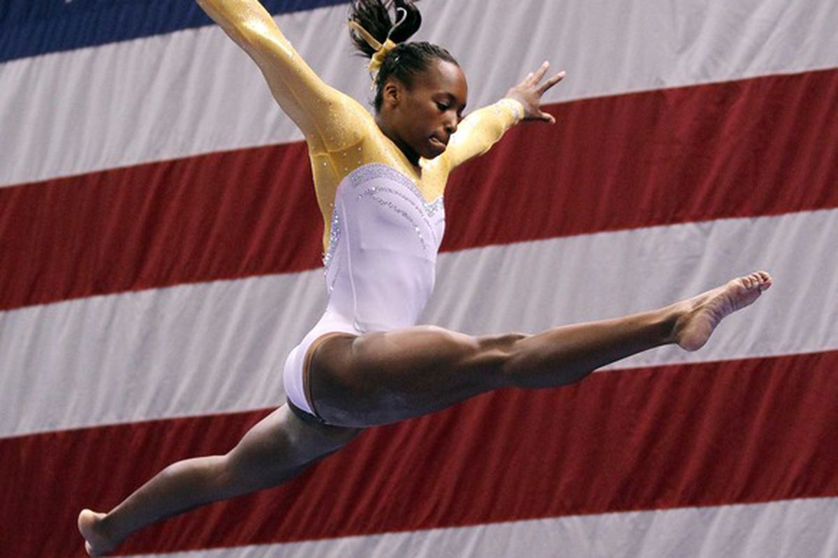 Jun 10, 2012; St. Louis, MO, USA; Elizabeth Price (USA) competes on the balance beam during day two of the 2012 Visa Championships in womens gymnastics at Chaifetz Arena. Mandatory Credit: Stew Milne-US PRESSWIRE