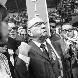 A furious Mayor Richard J. Daley on the convention floor.   AP Photo
