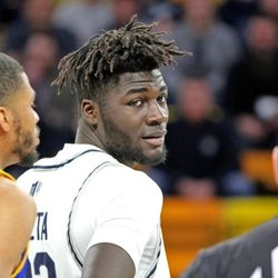 Utah State center Neemias Queta looks back at an official during USU's 94-56 win over San Jose State on Tuesday, Feb. 25, 2020, at the Spectrum in Logan.
