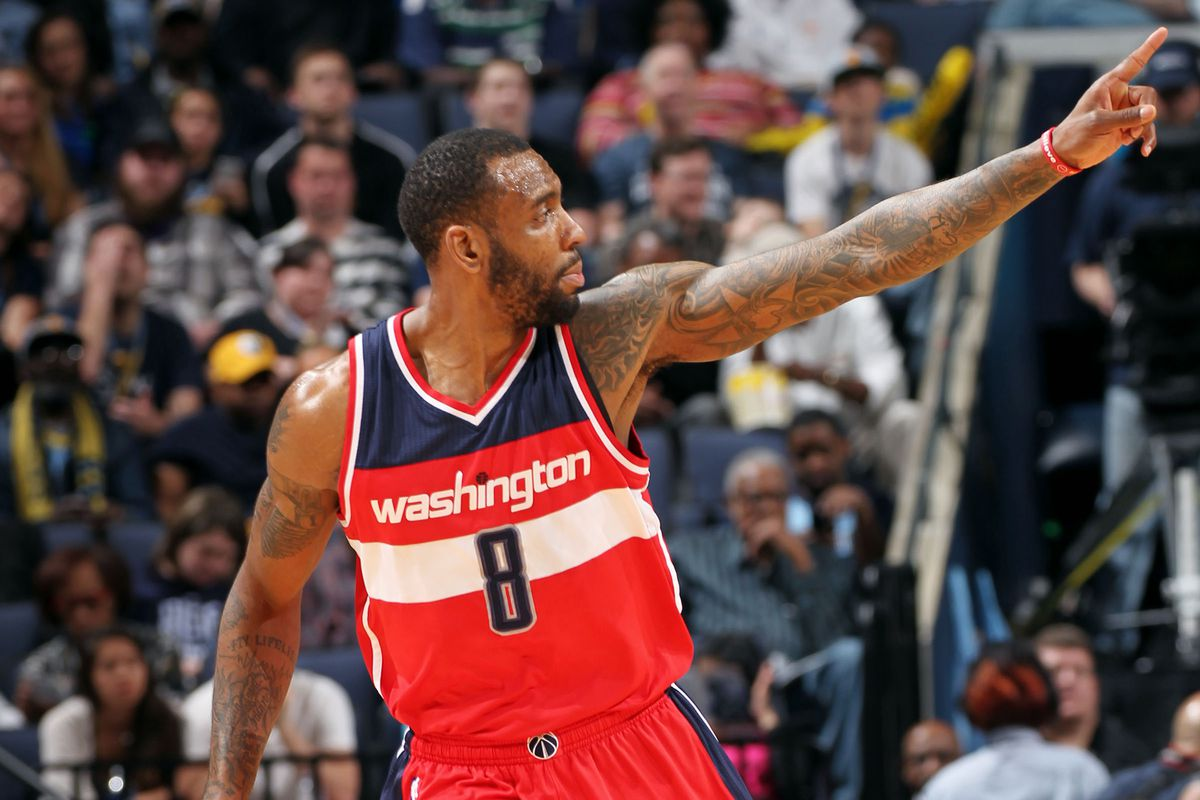 MEMPHIS, TN - APRIL 4: Rasual Butler #8 of the Washington Wizards celebrates during a game against the Memphis Grizzlies on April 4, 2015 at FedExForum in Memphis, Tennessee. NOTE TO USER: User expressly acknowledges and agrees that, by downloading a