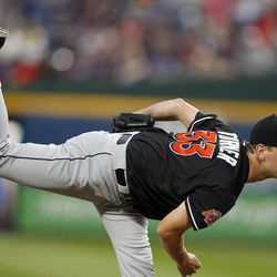 Miami Marlins starting pitcher Jacob Turner (33) works in the first inning of a baseball game against Atlanta Braves in Atlanta, Thursday, Sept. 27, 2012.