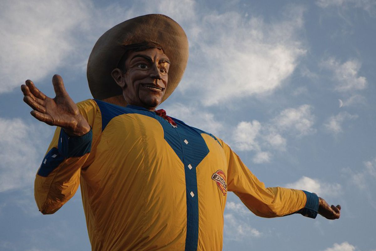 Click to enlarge. Big Tex is almost ready for the Texas State Fair.