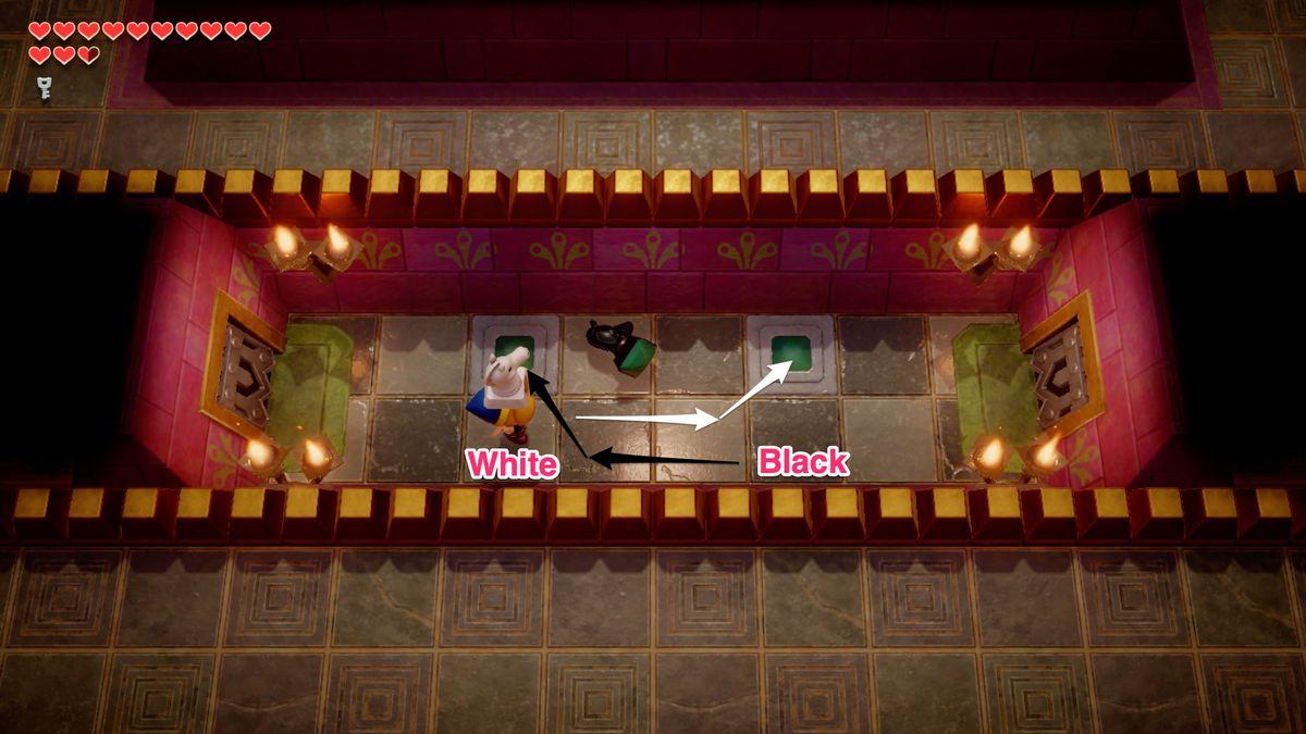 Link's Awakening Face Shrine hallway chess puzzle solution