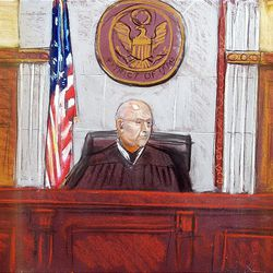 Courtroom drawing Judge Dale Kimball in court on Monday.