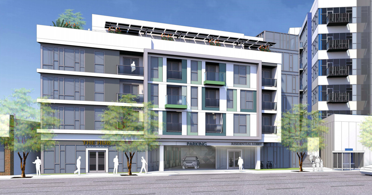 A rendering of a white building with apartments upstairs and retail on the ground floor. The building is connected to another structure that's part of the project, but out of frame.