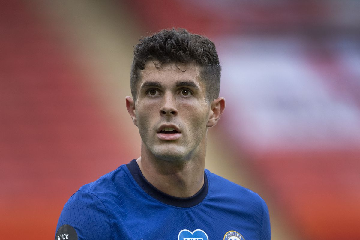 Christian Pulisic of Chelsea in action during the Premier League match between Sheffield United and Chelsea FC at Bramall Lane on July 11, 2020 in Sheffield, United Kingdom.