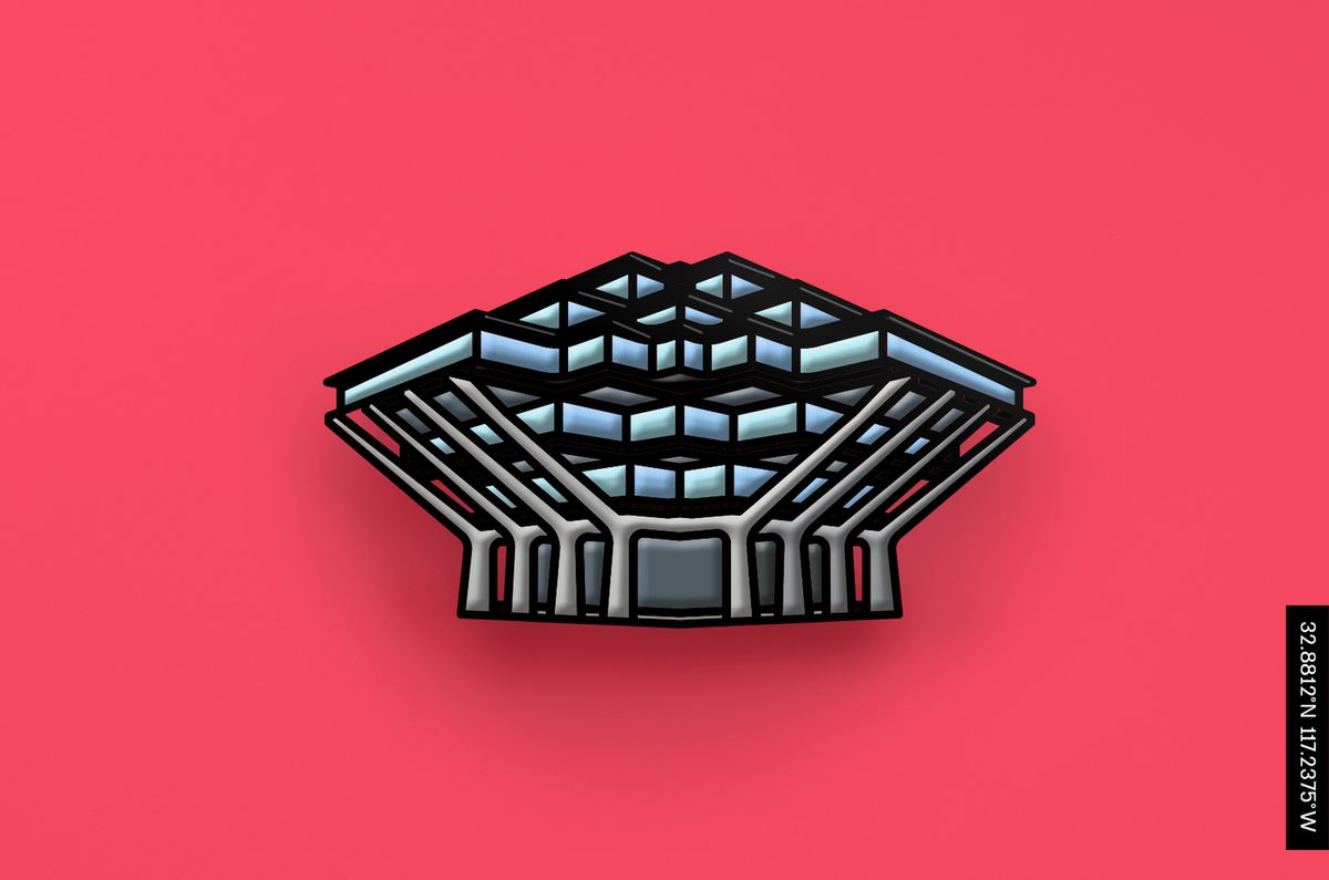 An enamel pin showing the Geisel Library, which is made up of a series of concrete trusses that hold up glass volumes.