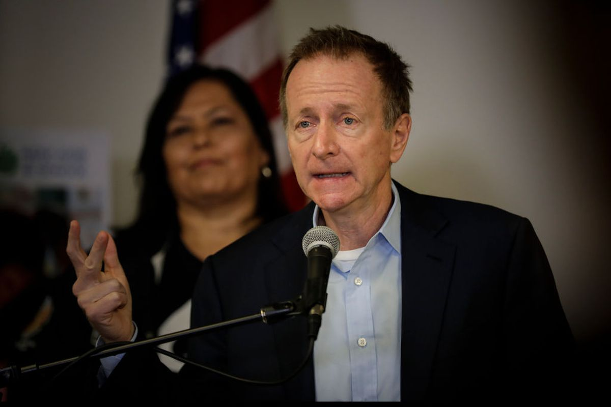 Los Angeles Unified Superintendent Austin Beutner, right, flanked by  Board President Monica Garcia addresses the media at LAUSD headquarters on Jan. 15, 2019 the second day of the United Teachers Los Angeles strike. (Photo by Irfan Khan/Los Angeles Times via Getty Images)