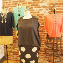 Sleeveless Cocoon Top, $262; Dotted Pencil Skirt, $166