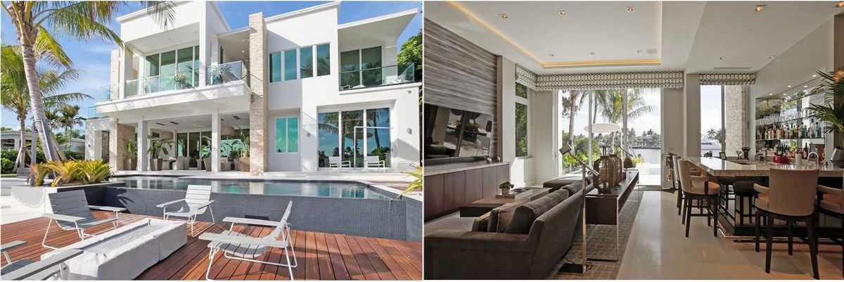 Two pictures: one of a modern white home on Miami Beach with a wood deck and infinity pool in front of it. The other is inside facing out, with a bar opening up to a TV and a couch. Neutral tones throughout.