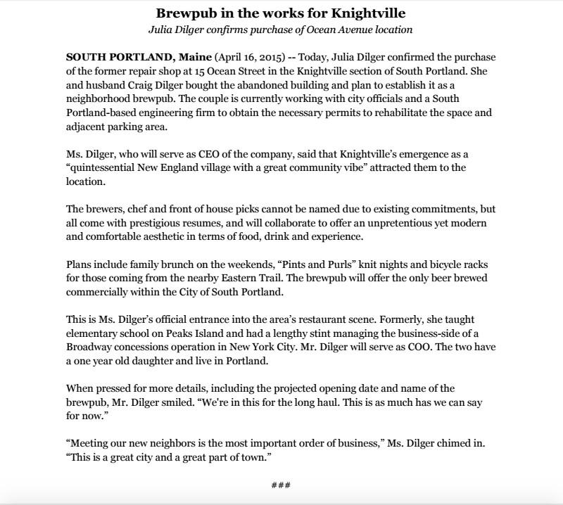 dilger brew pub press release