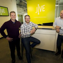 Jive Communications co-founders John Pope, left, Mike Sharp, and Matthew Peterson, pose for a photo in the lobby of the company's headquarters in Lindon on Friday, March 10, 2017.