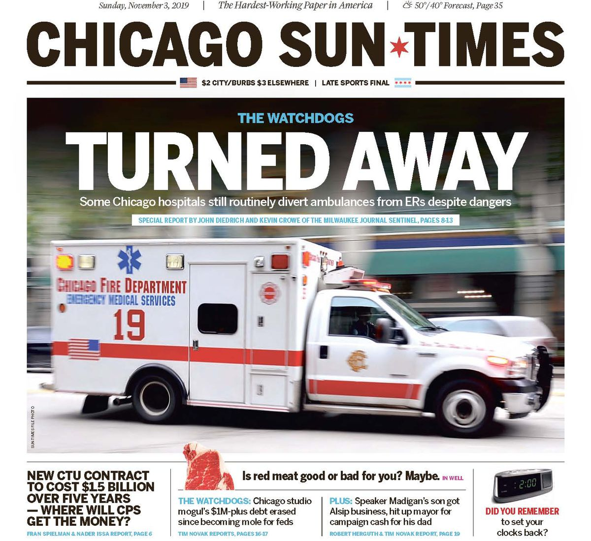 Click here to read Nov. 1, 2019, story on ambulance diversions in Chicago.