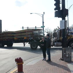 4:04 p.m. The truck carrying the concrete forms finally moving toward Waveland -