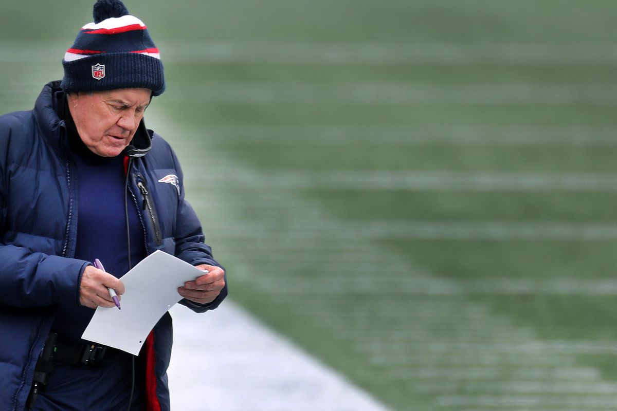 New England Patriots head coach Bill Belichick on the sidelines during the New England Patriots final game of their 2020 NFL season on January, 3, 2021 against the visiting New York Jets at Gillette Stadium in Foxborough, MA.