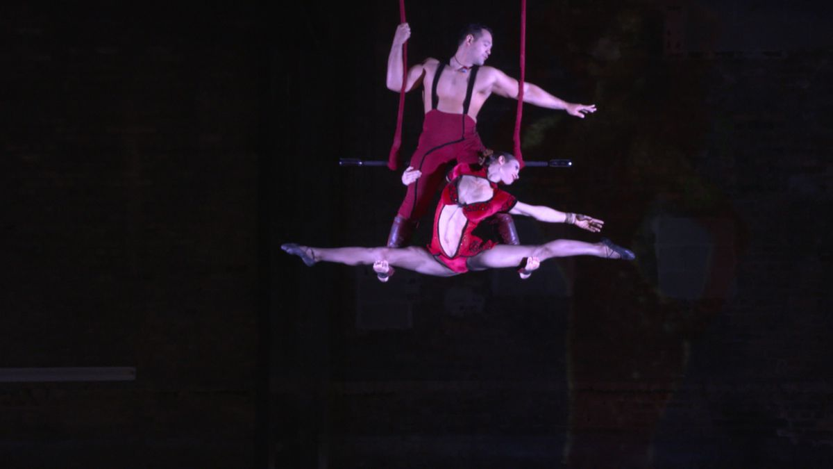 """Chicago's Duo Rose trapeze performs a routine during from Teatro ZinZanni's """"Love, Chaos & Dinner,"""" Wednesday, Sept. 12, 2018. 
