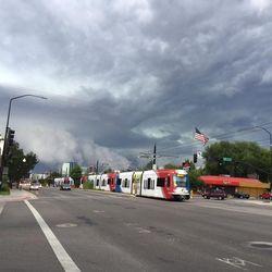 A storm hits downtown Salt Lake City, August 7, 2015.