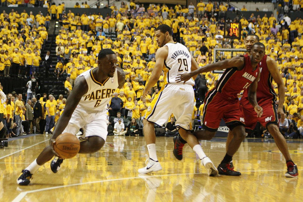 May 17, 2012; Indianapolis, IN, USA; Indiana Pacers guard Lance Stephenson (6) drives to the basket against the Miami Heat at Bankers Life Fieldhouse. Indiana defeats Miami 94-75. Mandatory Credit: Brian Spurlock-US PRESSWIRE