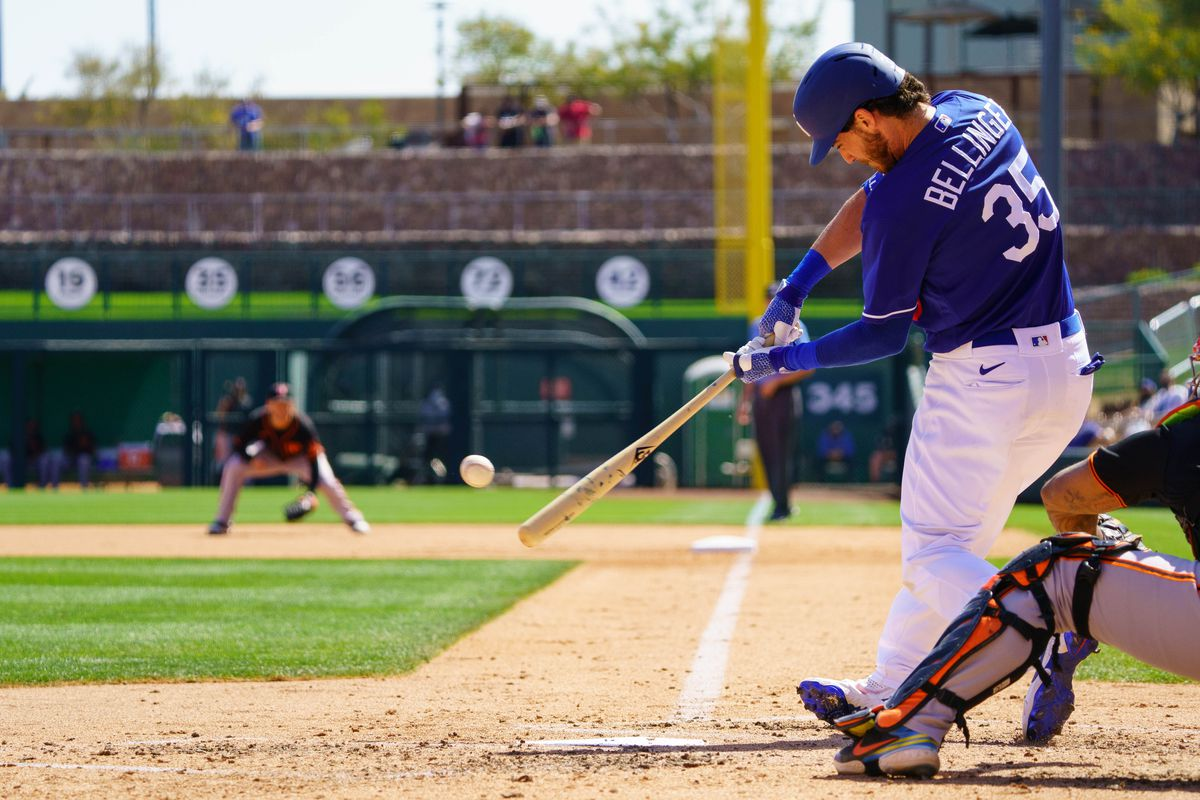 Los Angeles Dodgers outfielder Cody Bellinger (35) at bat against the San Francisco Giants during a Spring Training game at Camelback Ranch, Glendale.