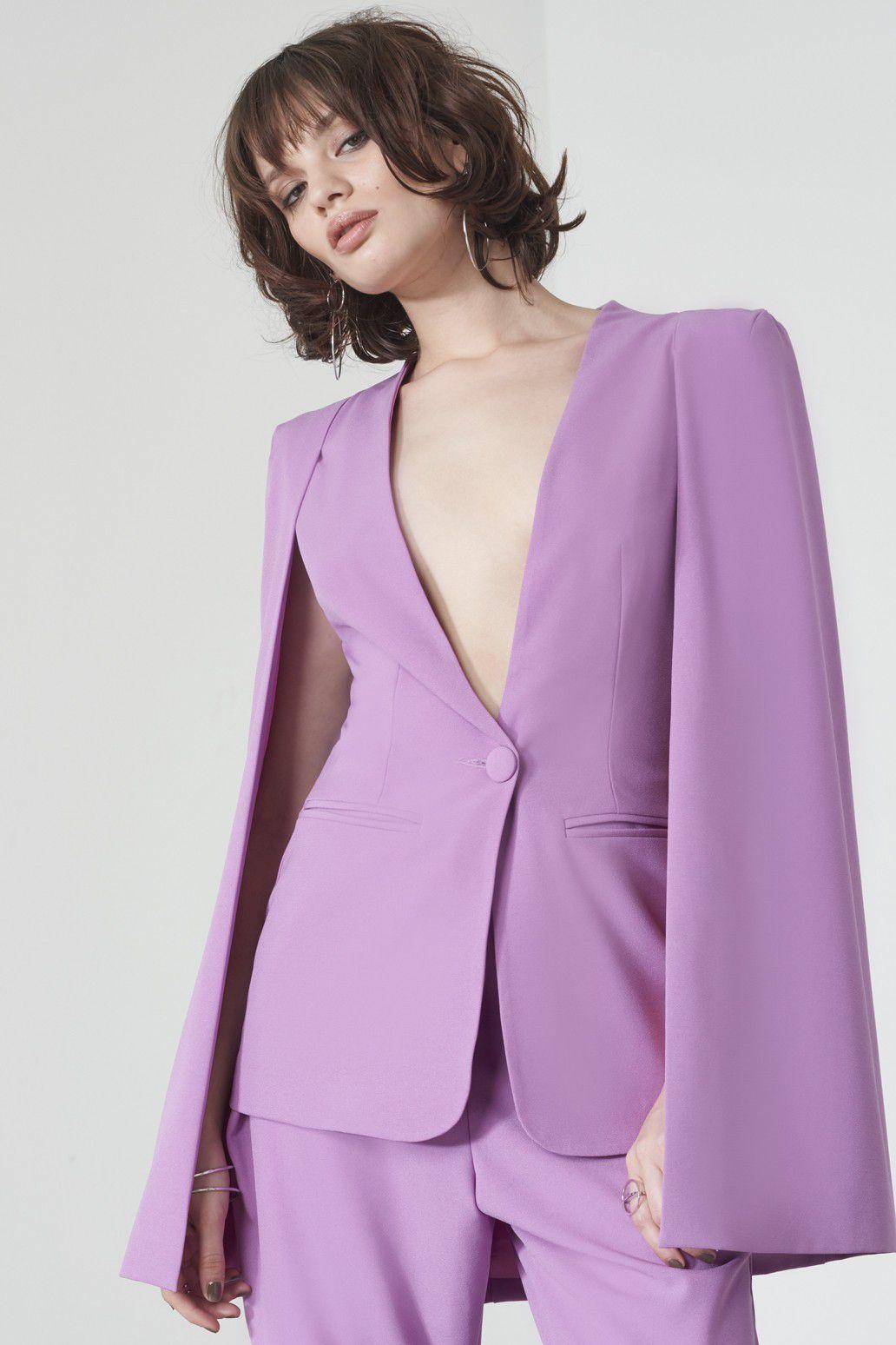 Lavish Alice Caped Blazer in Violet, $101.24