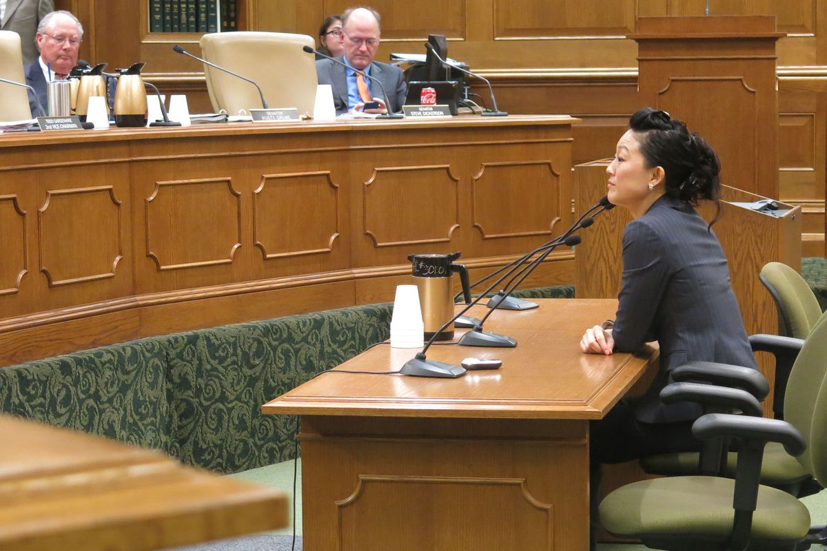 Elissa Kim of Nashville speaks to the Senate Education Committee Wednesday before her confirmation vote.