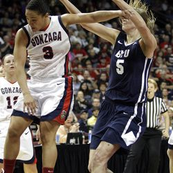 Brigham Young Cougars center Jennifer Hamson (5) grabs a rebound over Gonzaga Bulldogs guard Haiden Palmer (3)  in the West Coast Conference finals in Las Vegas  Monday, March 5, 2012.  BYU won the title and will advance to the NCAA tournament.