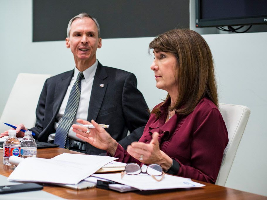 U.S. Rep. Dan Lipinski, left, and Democratic primary challenger Marie Newman, right, in 2018. File Photo.   James Foster/For the Sun-Times